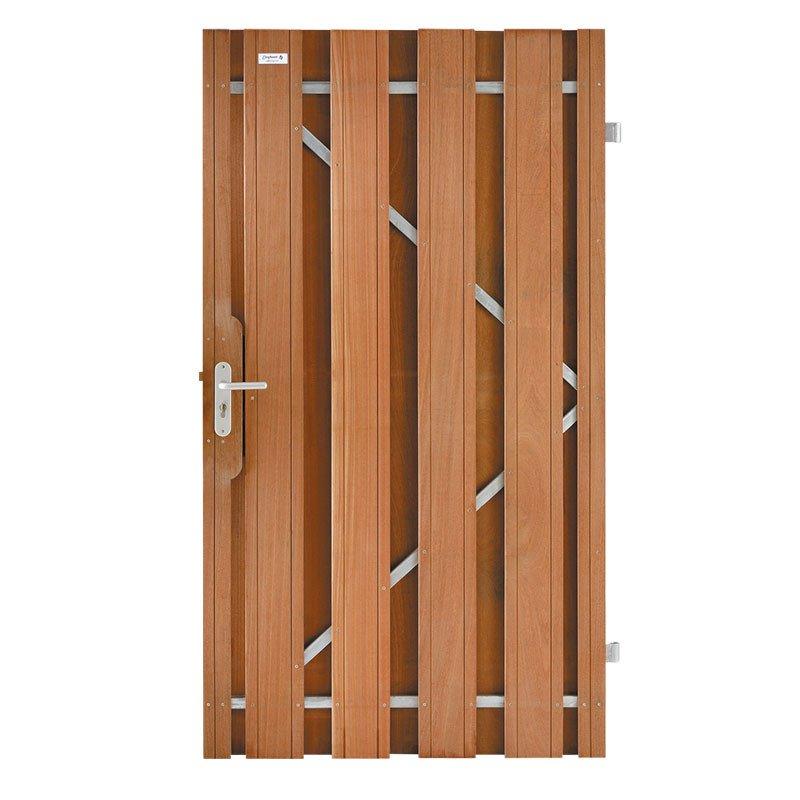 Hardhout tuindeur Keruing metalen frame 100 x 180 cm. Type: Timber