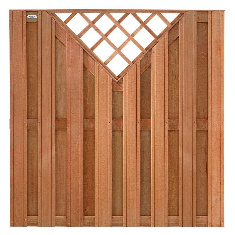 Hardhouten schutting Kempas recht trellis 180 x 180 cm. Type: Timber
