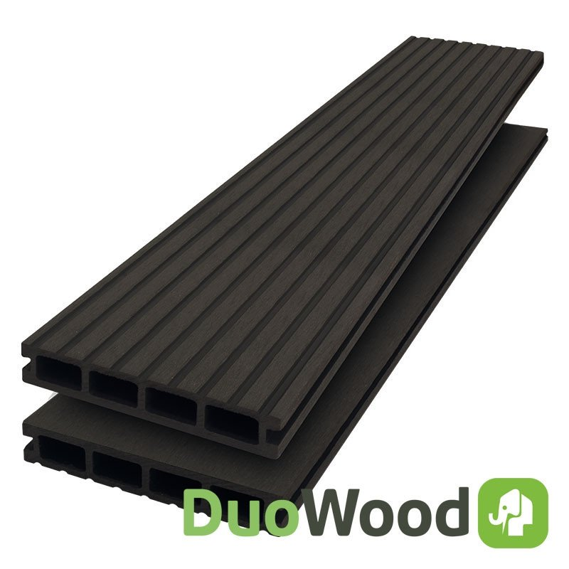 Composiet vlonderplank Duowood hol 25 x 146 mm. Type: Lava