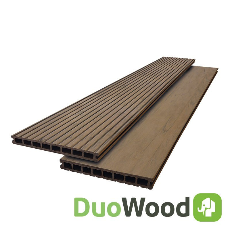 Composiet vlonderplank Duowood 25 x 250 mm. Type: Douala Bicolor