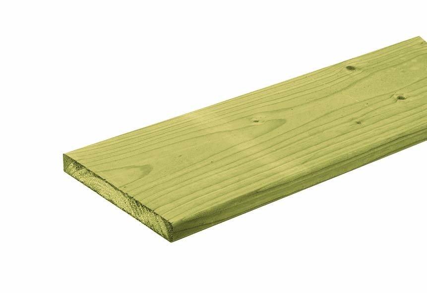 Houten plank geïmpregneerd 18 x 145 mm. Type: Vuren