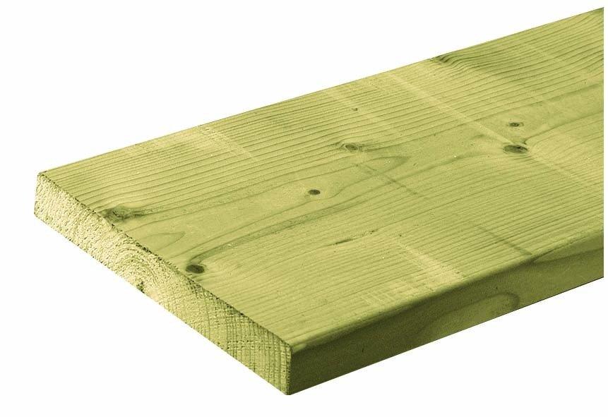 Houten plank geïmpregneerd 28 x 195 mm. Type: vuren