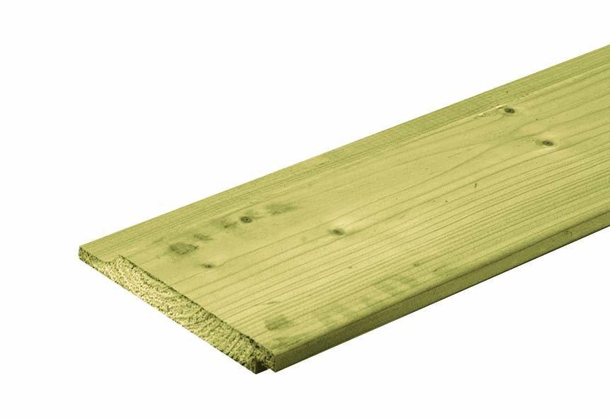 Houten plank rabat halfhouts geïmpregneerd 18 x 142 mm. Type: Vuren