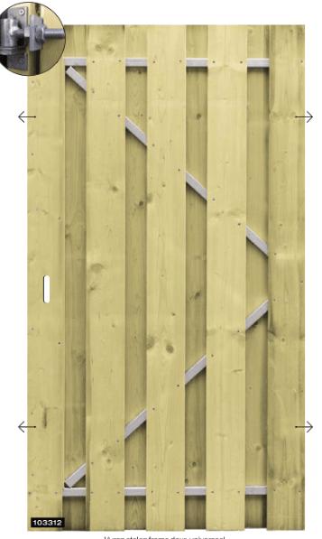 Houten tuindeur Vurenmetalen frame 100 x 180 cm. Type: Universeel