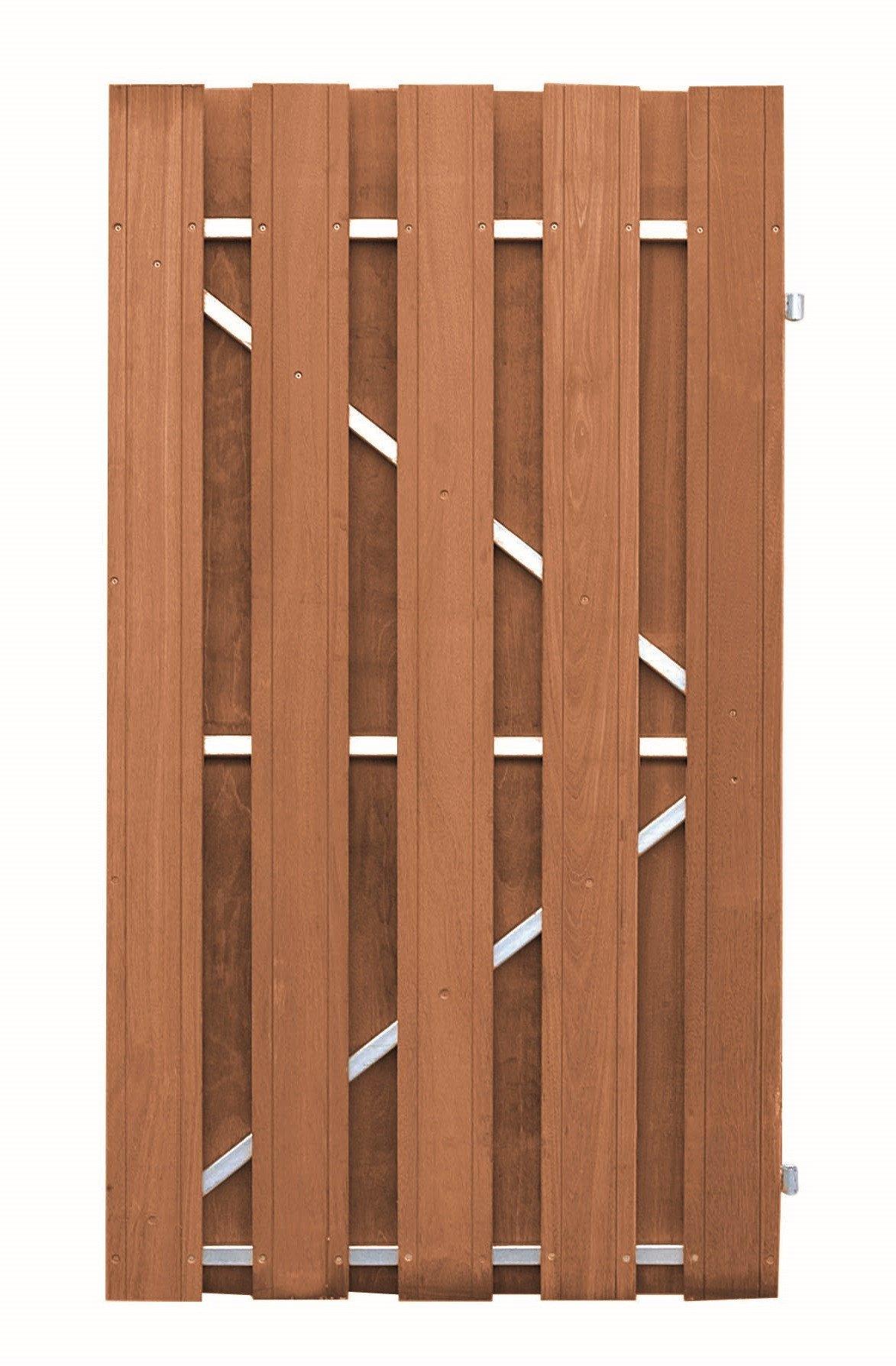 hardhouten tuindeur bangkirai metalen frame