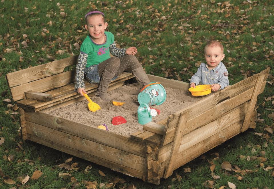 Houten zandbak Grenen met bankdeksel 120 x 120 x 30 cm. Type: Buitenspelen