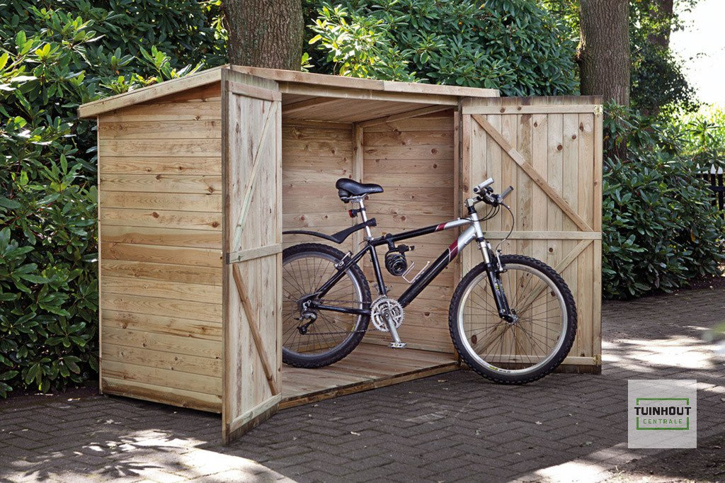 Houten fietsberging 200 x 90 x 158 cm. Type: Westerwald