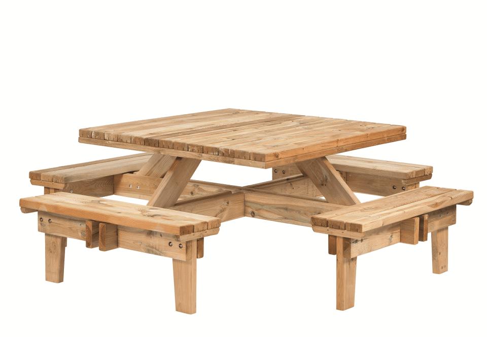 Houten picknicktafel vierkant vuren 230 x 230 x 70