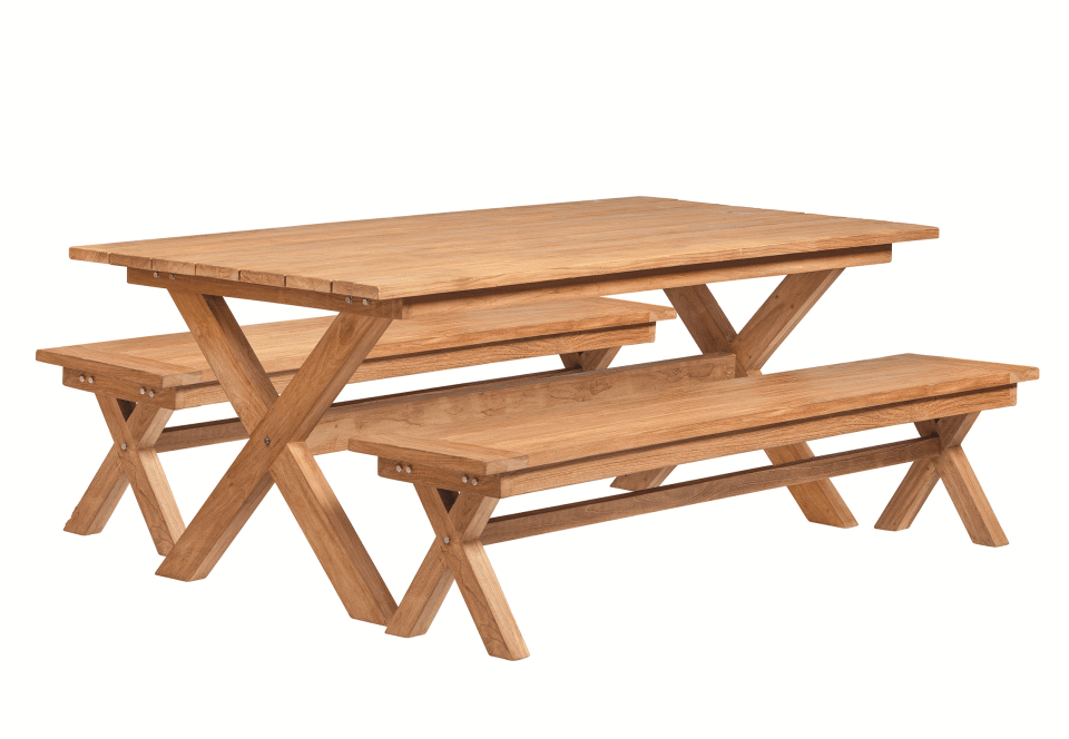 Hardhouten Picknickset Teak 200 x 100 x 75 cm. Type: Luxe