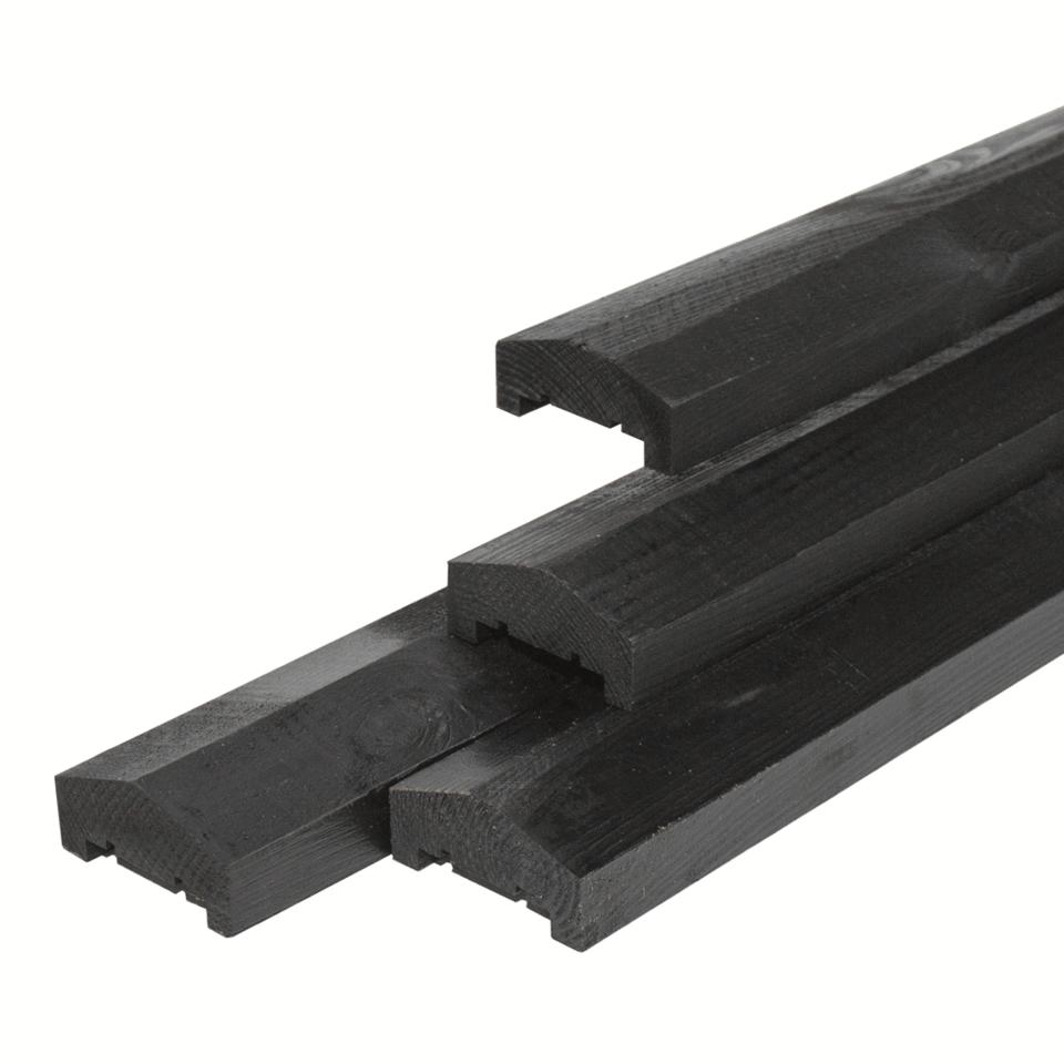 Afdeklat zwart gespoten piramide 180 cm (3 planks tussenruimte)