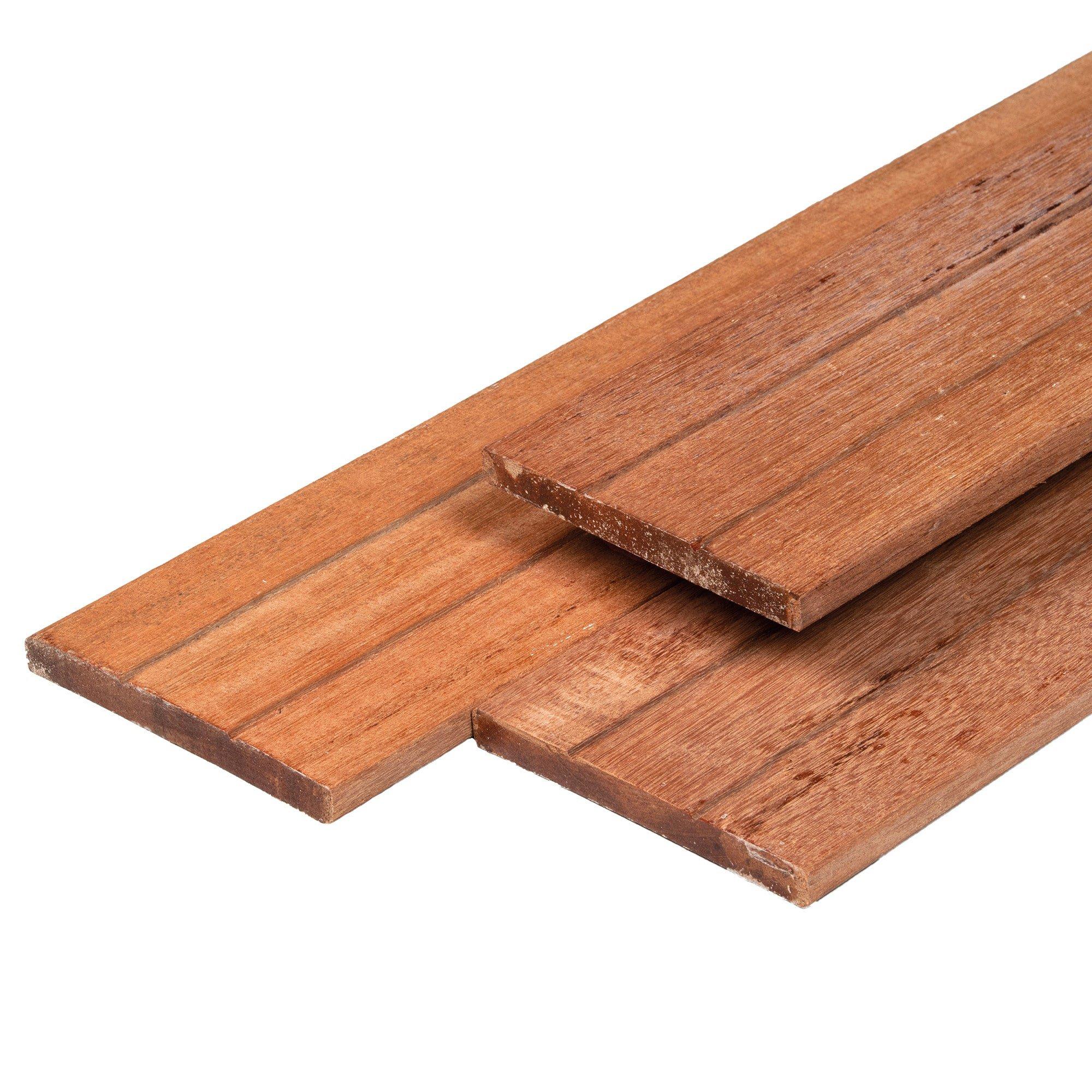 Hardhouten plank geschaafd 16 x 145 mm. Type: Keruing
