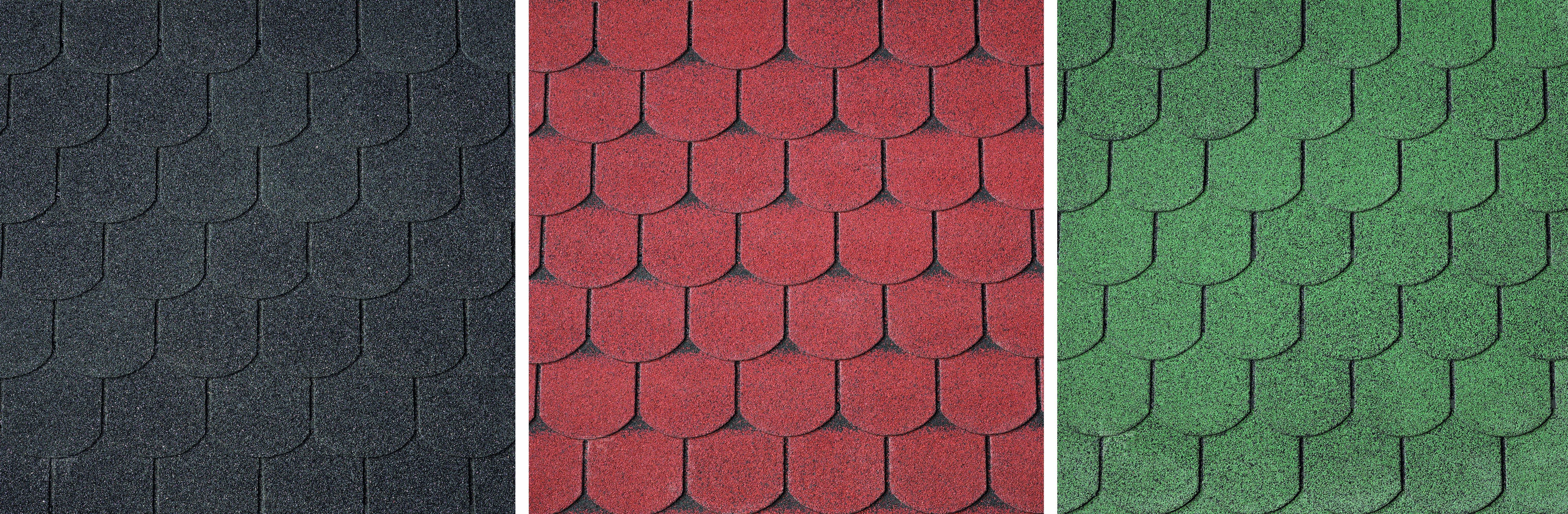 Dakschingles  zwart-rood-groen 3 m². Type: beverstaart