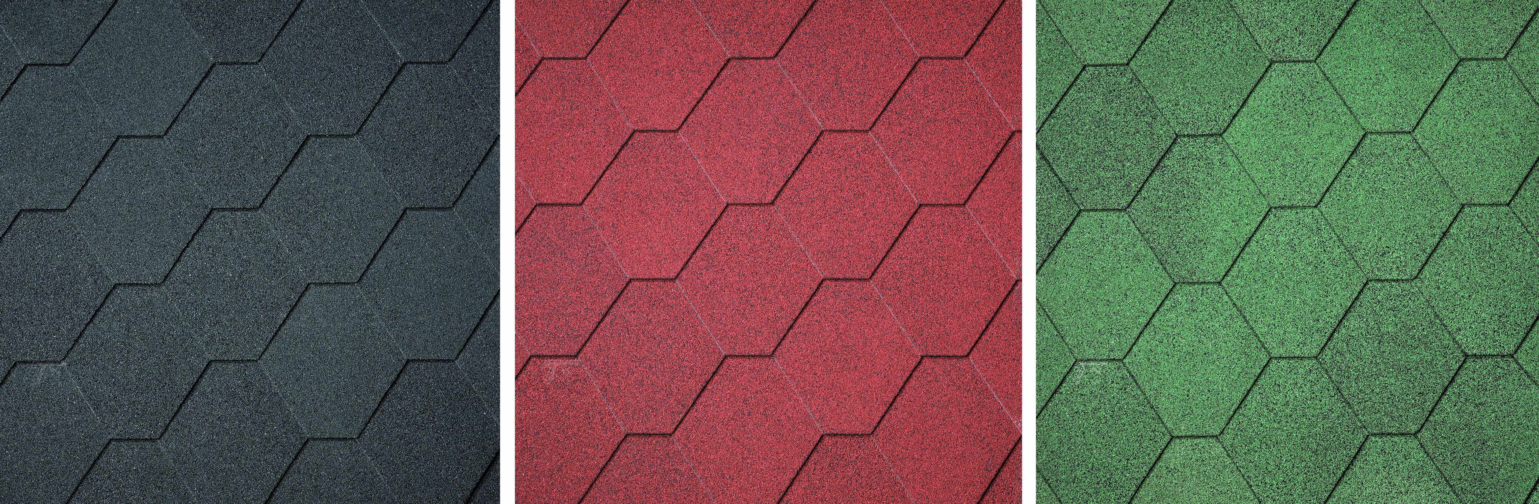 Dakschingles  zwart-rood-groen 3 m². Type: hexagonaal