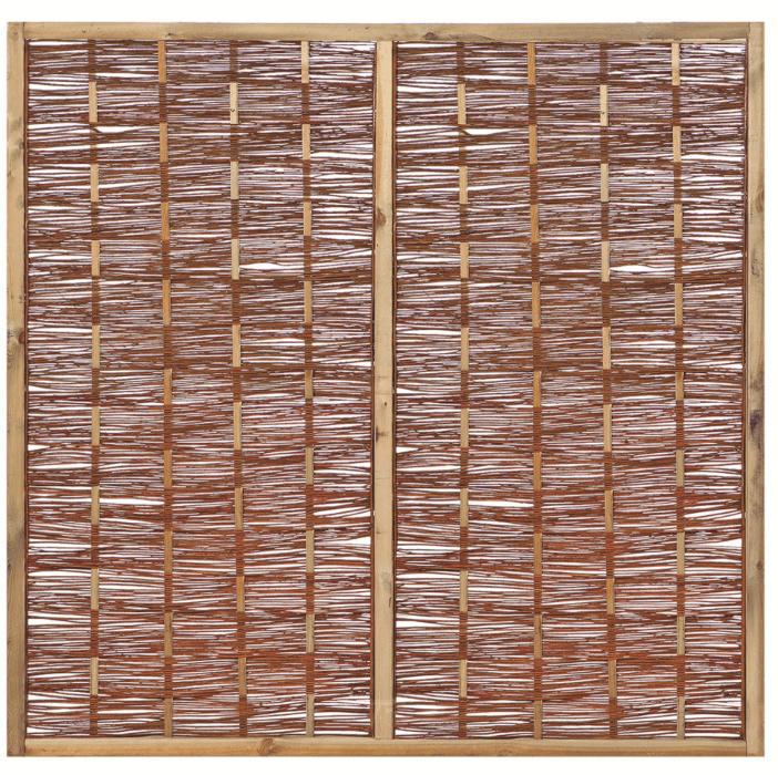Houten scherm grenen 180 x 180 cm. Type: Wilgenteen