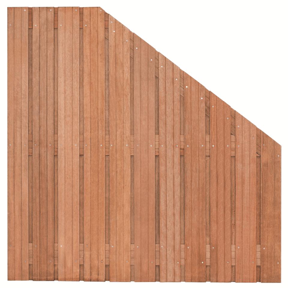 Hardhouten verloop schutting 180>90 x 180 cm. Type: Hoorn
