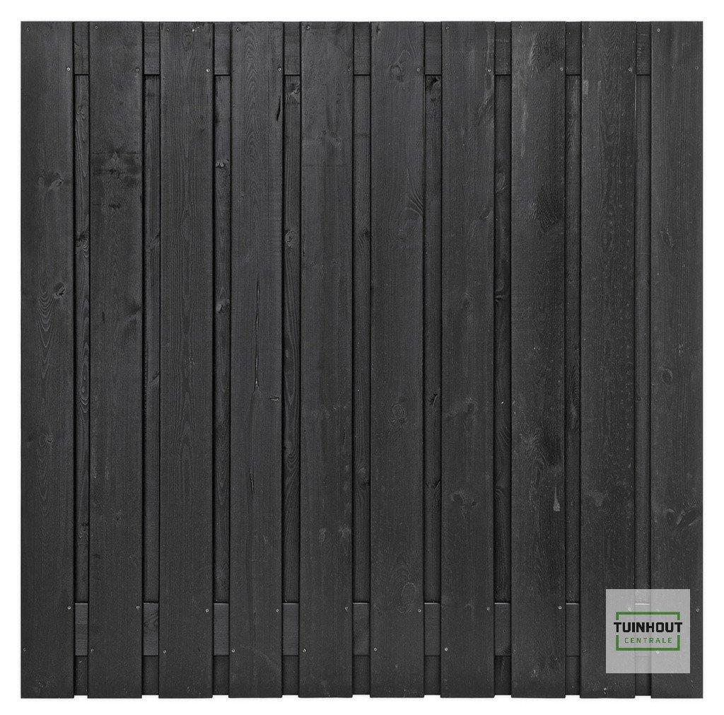 Zwart gespoten houten schutting 180 x 180 cm. Type: Stuttgart 180