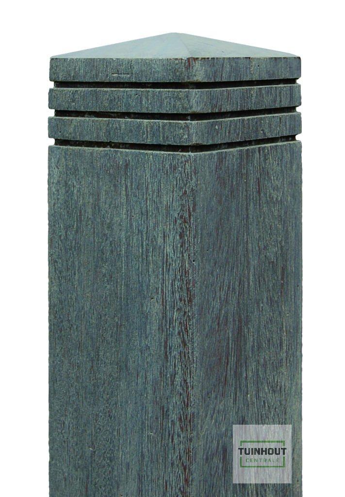 Trendy Bangkirai paal geborsteld met diamantkop 90 x 90 mm. Type: Vintage