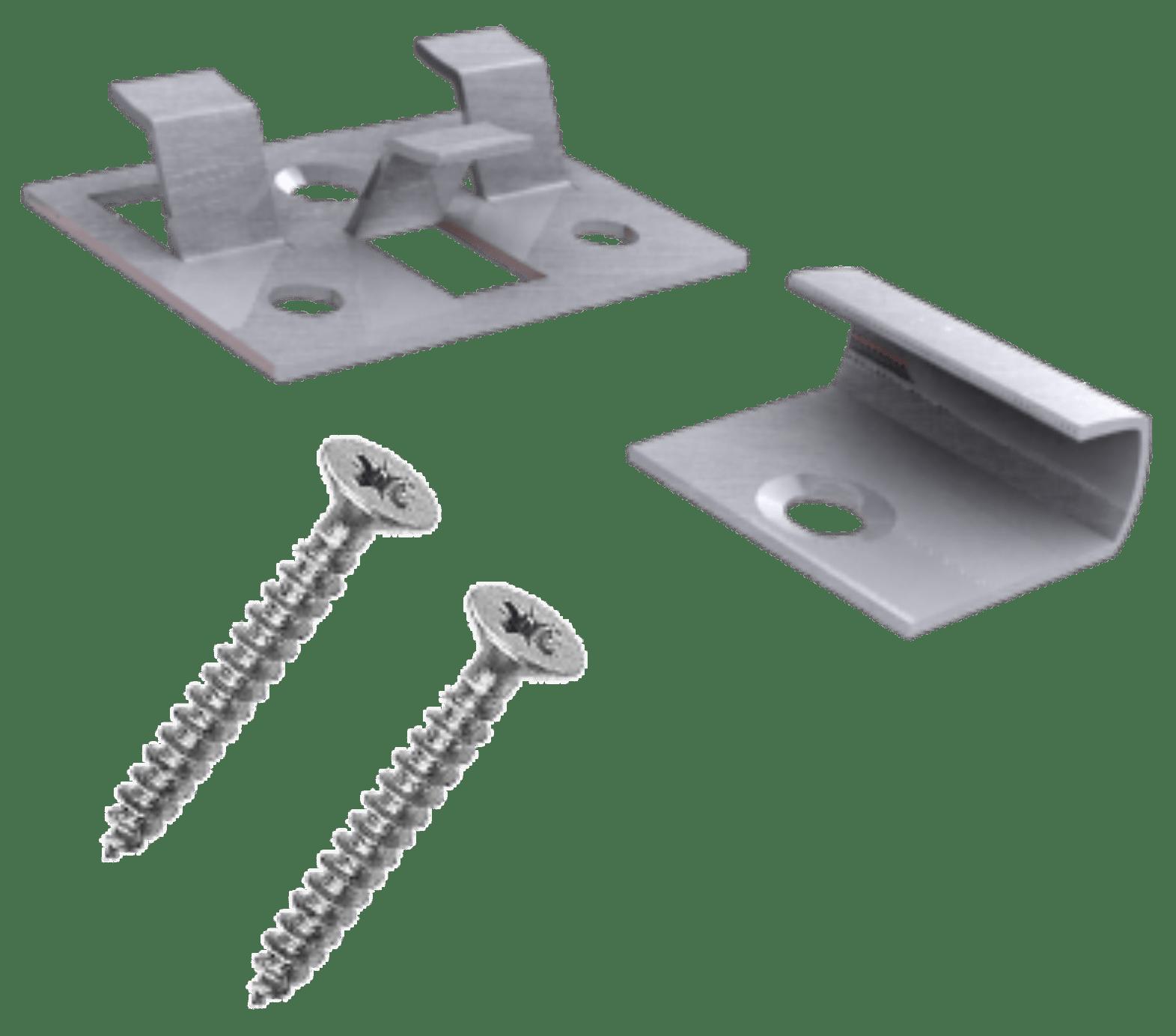 RVS startclips Inclusief schroeven Per doos 25 stuks