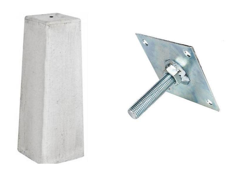 Betonpoer licht grijs 180 x 180 x 500 mm. Type: afgeronde hoeken